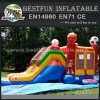 Sports inflatable combo football bouncer water slide