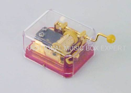PLASTIC CASE CRANKED MUSICAL MOVEMENT