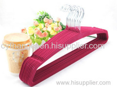 45cm Plastic red flocked skirt hanger with ident design non-slip