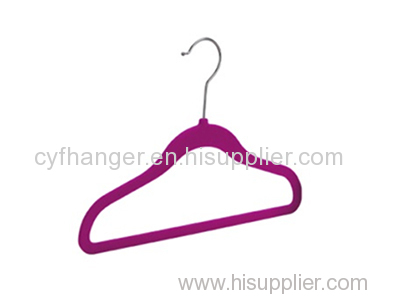 Factory made 33.5cm dark red flocked non-slip kids hanger