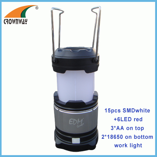 SMD high power work light red flashing warning camping lantern USB plug for mobile recharging 18650 battery work light