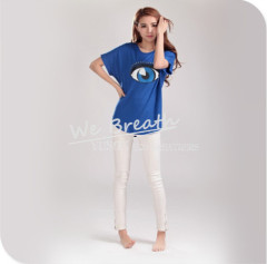 Apparel&Fashion T-shirts YUSON Ladies Seamless T-shirt Bamboo Fiber Jersey Rolled Sleeve Tunic Style T-shirt For Summer