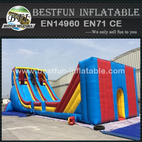 Outdoor giant zip line inflatable slide for children and adults