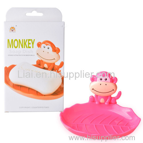 Cartoon Monkey Travel Soap Dish Plastic Wall Mounted Organizer with Sucker Kids Bathroom Shower Soap Holder Rack