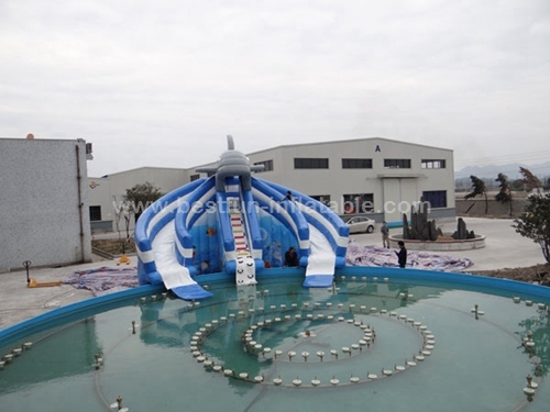 Inflatable commercial entertainment water pool slide
