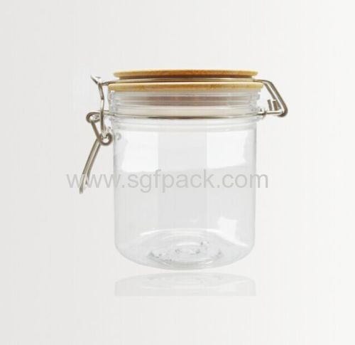 PET PLASTIC BAMBOO FOOD CONTAINER WOODEN KILNER JAR SEAL POT AIRTIGHT CANISTER COSMETIC PACKAGING WITH WOODEN CAP