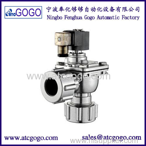 Right angle solenoid pulse valve with nut