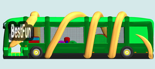 Inflatable Bouncer Jungle Fun Bus