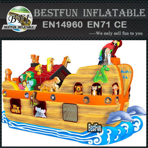 Inflatable obstacle Noahs Ark animal house boat