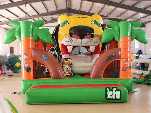 Inflatable Big Tiger Mouth Double Slide Amusement Park