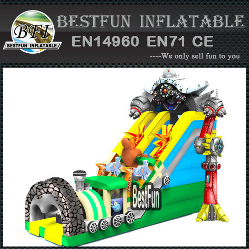 Large inflatable alien machine slide