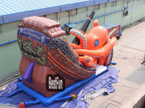 Pirate Scene inflatable bouncer slide combo