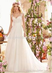 Tulle Queen Anne Neckline A-line Wedding Dress With Embroidery