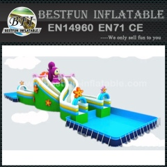 Folding metal frame swimming pool for water park