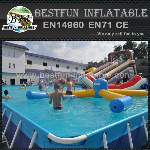 Rectangular Collapsible metal frame aquacul swimming pool