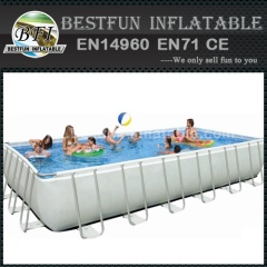 Rectangular Metal Frame inflatable swimming pool