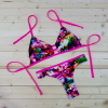 Floweral Brazilian Strappy Women Cheeky Bikini Set Vintage Nylon Butterfly Swimsuit Pink Blue Aqua Green Swimwear