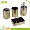 Hotel Metal Bathroom Accessory Set With Dispenser Tumbler Toothbrush Holder Soap Dish