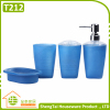 4 Pcs Cheap Plastic Bathroom Set With Lotion Dispenser Soap Dish Toothbrush Cup Tumbler