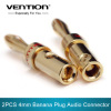 2PCS Banana Plug for Video 24K Speaker Copper 4mm Banana Plug Black & Red Banana Plug Audio Connector