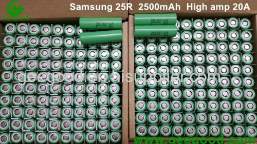 Samsung SDI 18650 25R 2016 new model 18650 25RM 2500mAh 20A real high amp 18650 battery for vape