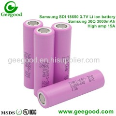 Samsung 30Q 18650 3000mAh 15A Max 30A high amp high capacity 18650 battery for vape
