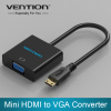 Mini HDMI to VGA Adapter Converter with Audio Interface and Power Supply for Xbox 360 PS3 PS4 Camera DV Tablet H