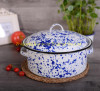 5QT white+blue color painted cast iron enamel soup pot