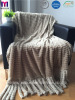 Two Layer Faux Fur Polyester Blanket With Tassels