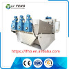 Non-clog food processing sludge dewatering screw machine