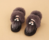 PU leather and fur children ankle boots