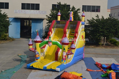 Cartoon theme large inflatable slide with bouncy