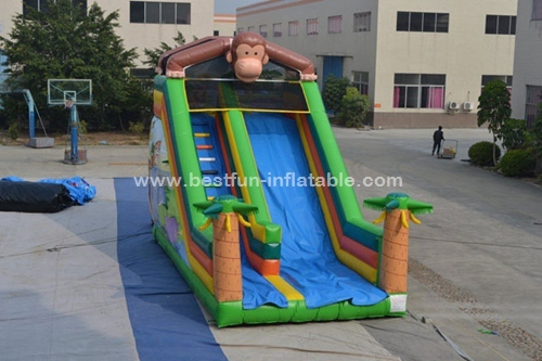 Monkey inflatable slide with bouncer land