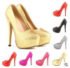 Round toe high heel party shoes