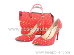 New Collection Afrcian Printed Fabric Ladies Shoes With Bags