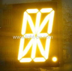 "Ultra yellow 16 segment led display single digit 2.3"" common anode for clock indicator"