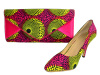 African Printed Fabric Shoes With Purses