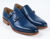 leather midnight blue pointed toe pull on men office shoes