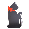 Wooden Black Cat With Red Bow Tie