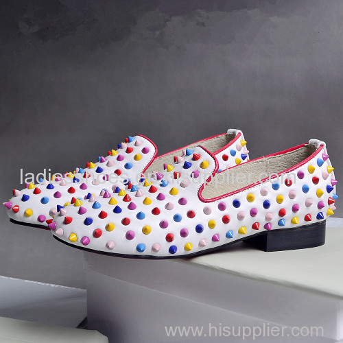 white flat fashion ladies comfortable shoes with colorful studs