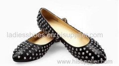 black color pointed toe flat women dress shoes with studs