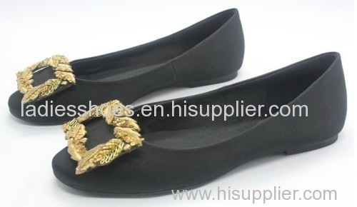 black pu suede ladies flat dress shoes with gold color sequined