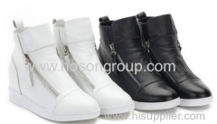 White or Black color fashion ladies casual shoes with zipper