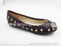 Brown color flat casual women dress shoe with bowtie and studs