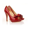 Women red color sexy wedding high heel dress sandals wtih bowtie