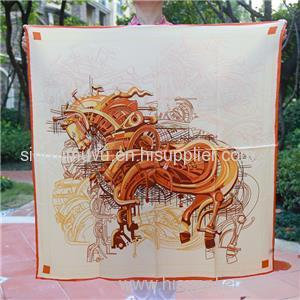 OEM Lady Customize Logo Scarves Digital Printed True Silk Square Scarf 90x90cm