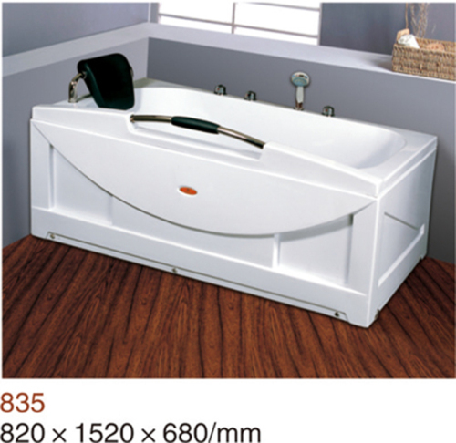 Acrylic corner whirlpool bathtub with handle