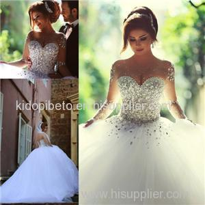 Vintage Crystal Tulle Ball Gown Wedding Dress