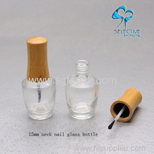 Nail polish bottle 15ml bamboo cap bottle