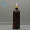 200ml large size empty oil container amber color cosmetic glass dropper bottles